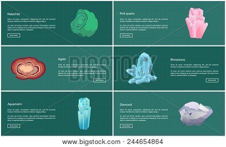 Aquamarine And Malachite, Agate And Rhinestone, Diamond And Pink Quartz Minerals, Crystal System Vec
