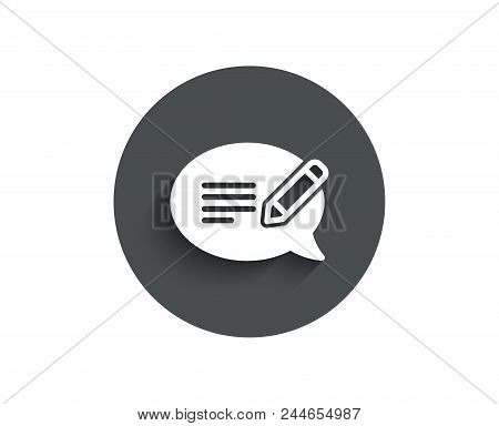 Message Chat Simple Icon. Speech Bubble Sign. Feedback Symbol. Circle Flat Button With Shadow. Vecto