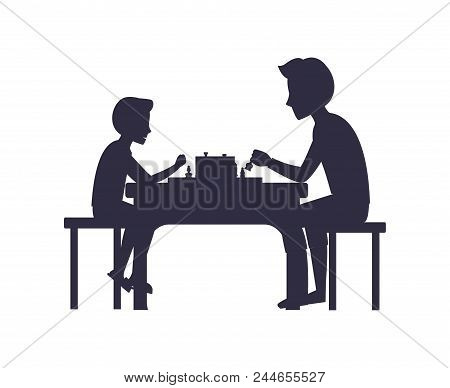Father And Son Playing Chess Sitting On Chairs At Table Black Silhouettes Isolated On White. Fatherh