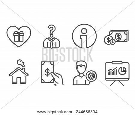 Set Of Hiring Employees, Dollar Money And Receive Money Icons. Romantic Gift, Support And Presentati