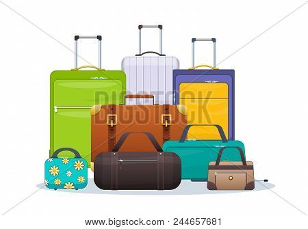 Set Of Plastic, Metal, Leather Suitcases And Bags In To Road. Travel Suitcase, Journey Package, Trav