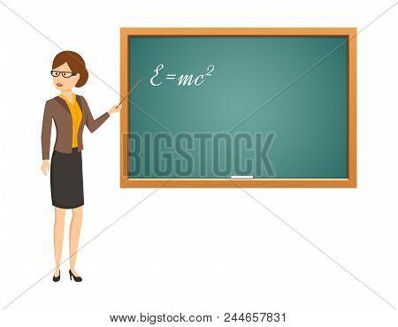 Teacher Woman With Pointer In Classroom, Professor Standing In Front Of Blank School Blackboard In C