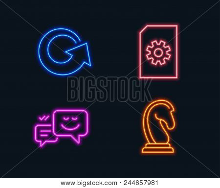 Neon Lights. Set Of File Management, Reload And Happy Emotion Icons. Marketing Strategy Sign. Doc Wi
