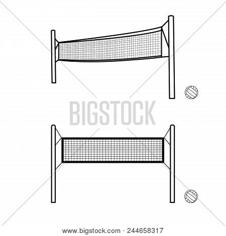 Volleyball Nets And Balls Vector Composition. Hand Drawn Sport Illustration. Isolated Nets And Balls