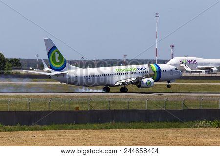 Borispol, Ukraine - May 26, 2018: F-gzhm Transavia France Boeing 737-800 Aircraft Landing On The Run