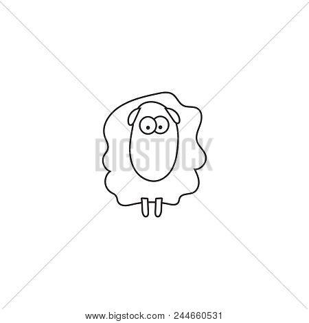 Vector Illustration Of Cartoon Outline Sheep. Vector Sheep.