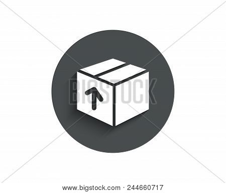 Delivery Box Simple Icon. Logistics Shipping Sign. Parcels Tracking Symbol. Circle Flat Button With