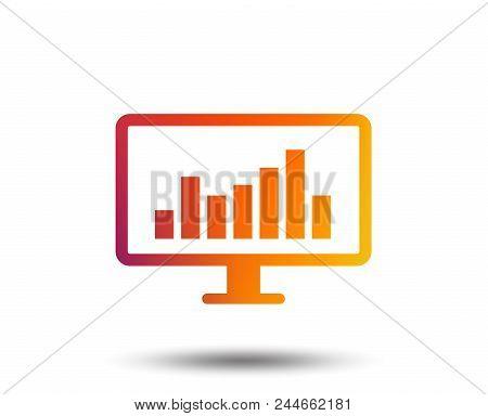 Computer Monitor Sign Icon. Market Monitoring. Blurred Gradient Design Element. Vivid Graphic Flat I