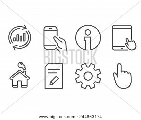 Set Of Service, Update Data And Edit Document Icons. Tablet Pc, Hold Smartphone And Hand Click Signs