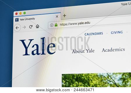 London, Uk - May 17th 2018: The Homepage Of The Official Website For Yale University - An American P
