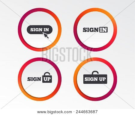 Sign In Icons. Login With Arrow, Hand Pointer Symbols. Website Or App Navigation Signs. Sign Up Lock