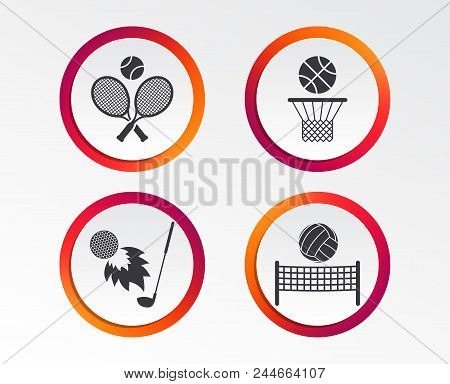 Tennis Rackets With Ball. Basketball Basket. Volleyball Net With Ball. Golf Fireball Sign. Sport Ico