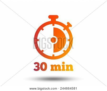 Timer Sign Icon. 30 Minutes Stopwatch Symbol. Blurred Gradient Design Element. Vivid Graphic Flat Ic