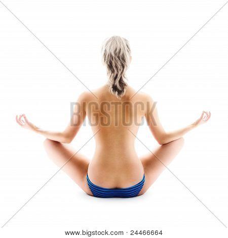 Woman In Meditation Pose | Isolated