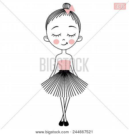 Cute Vector Girl In Dress. Sketch Style. Young Model. Stylish Teenager. Pretty Teen. Cartoon Girls I