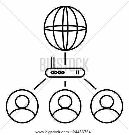 Internet Network, User Network, Black Network Icon.