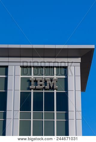 Columbia, Sc/usa - June 4, 2018: Ibm Corporate Building And Trademark Logo. Ibm Is An American Multi