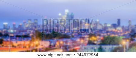 Defocused Background Of Philadelphia Skyline At Night. Intentionally Blurred Post Production For Bok