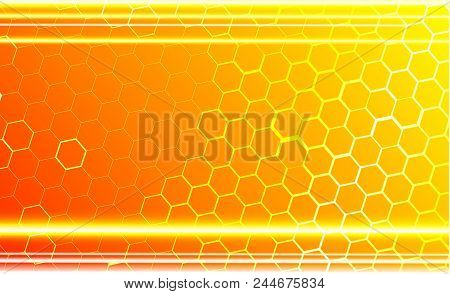 Modern Technological Background In The Style Of Bee Honeycombs. Bright Orange And Yellow Glow From T
