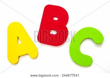 The Letters A, B, C Over A Plain White Background.