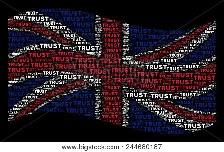 Waving United Kingdom Official Flag On A Black Background. Vector Trust Texts Are Grouped Into Geome