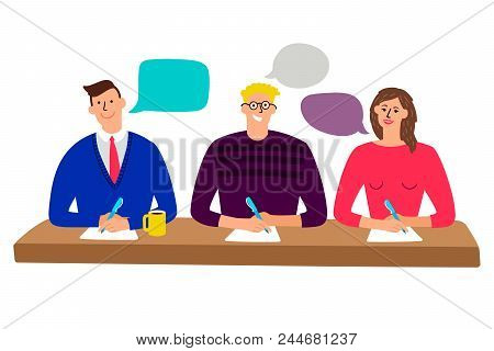 Judging Committee. Judges Table With Quiz Scoring Men And Woman People Cartoon Vector Illustration