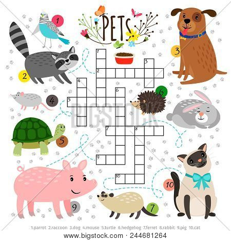 Kids Crosswords With Pets. Children Crossing Word Search Puzzle With Pats Animals Like Cat And Dog,