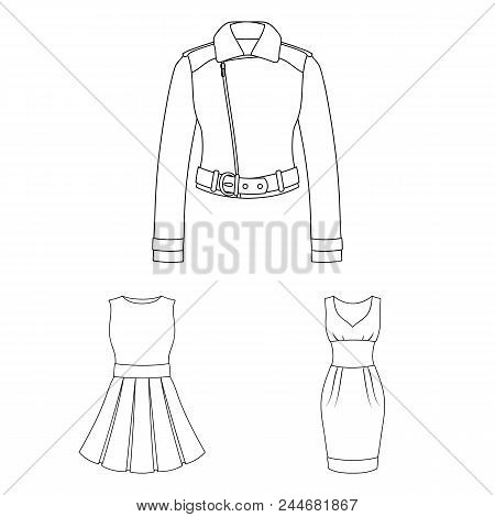 Women's Clothing Outline Icons In Set Collection For Design.clothing Varieties And Accessories Vecto