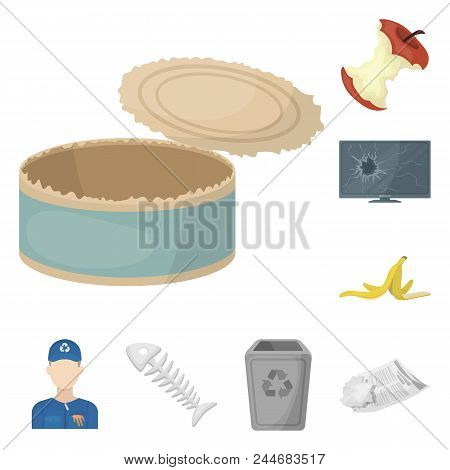 Garbage And Waste Cartoon Icons In Set Collection For Design. Cleaning Garbage Vector Symbol Stock