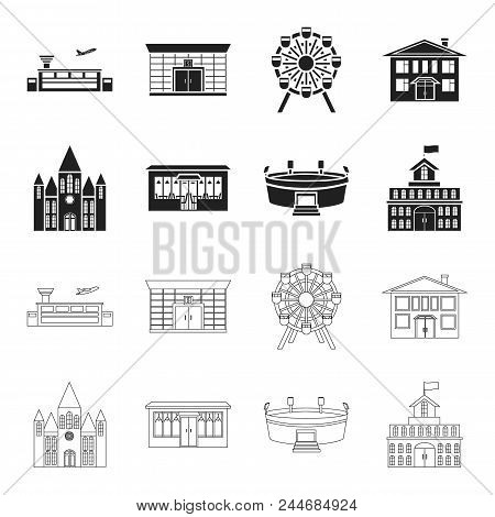 House Of Government, Stadium, Cafe, Church.building Set Collection Icons In Black, Outline Style Vec