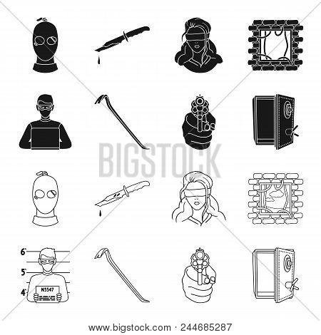 Photo Of Criminal, Scrap, Open Safe, Directional Gun.crime Set Collection Icons In Black, Outline St