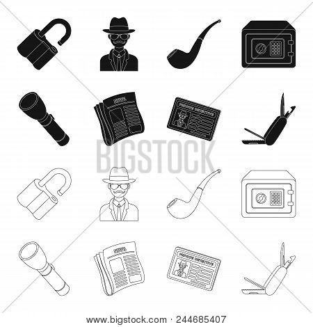 Flashlight, Newspaper With News, Certificate, Folding Knife.detective Set Collection Icons In Black,