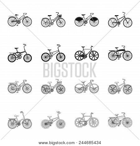 Children's Bicycle And Other Kinds.different Bicycles Set Collection Icons In Black,outline Style Ve