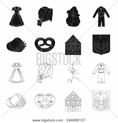Country Germany Black, Outline Icons In Set Collection For Design. Germany And Landmark Vector Symbo