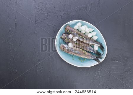 Herring fillets with onions on a blue plate, a traditional Dutch delicacy. Delicious seafood meal. Copy space. flat lay. poster