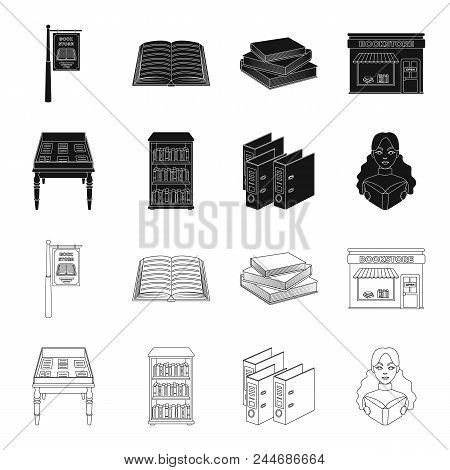 Library And Bookstore Black, Outline Icons In Set Collection For Design. Books And Furnishings Vecto