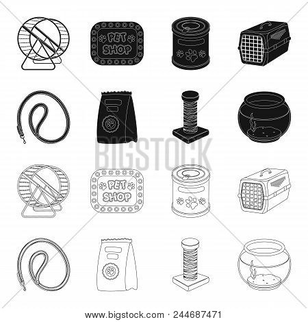 Leash, Feed And Other Zoo Store Products.pet Shop Set Collection Icons In Black, Outline Style Vecto