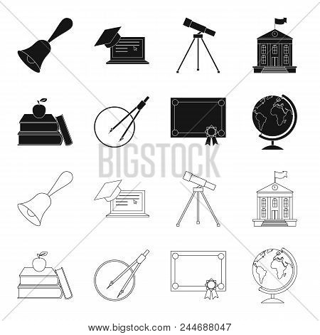 Books, An Apple, A Compass With A Circle, A Diploma With A Seal, A Globe. School Set Collection Icon