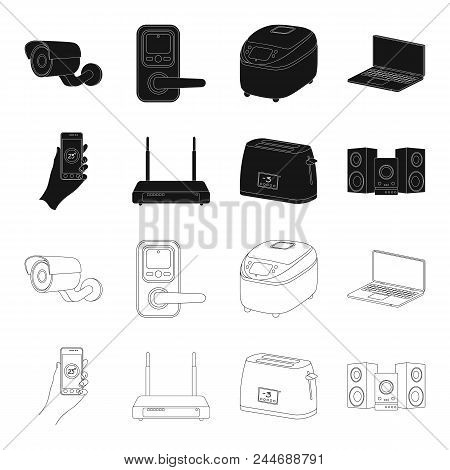 Home Appliances And Equipment Black, Outline Icons In Set Collection For Design.modern Household App