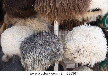 Fur Caps Winter Headwear. Trading With Fur Hat. Selling Natural Winter Fur Headdress