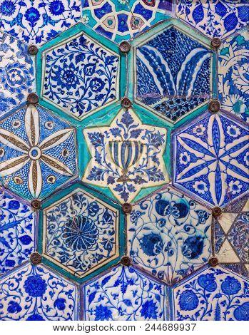 Mamluk era glazed ceramic tiles decorated with floral ornamentations, Public fountain of Qaitbay, Cairo, Egypt poster