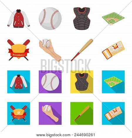 Club Emblem, Bat, Ball In Hand, Ticket To Match. Baseball Set Collection Icons In Cartoon, Flat Styl