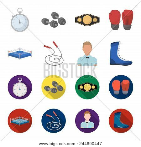 Ring, Rope, Referee, Sneakers Boxing Set Collection Icons In Cartoon, Flat Style Vector Symbol Stock