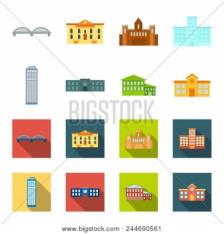 Skyscraper, Police, Hotel, School.building Set Collection Icons In Cartoon, Flat Style Vector Symbol