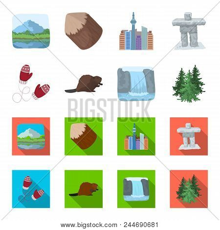 Canadian Fir, Beaver And Other Symbols Of Canada.canada Set Collection Icons In Cartoon, Flat Style