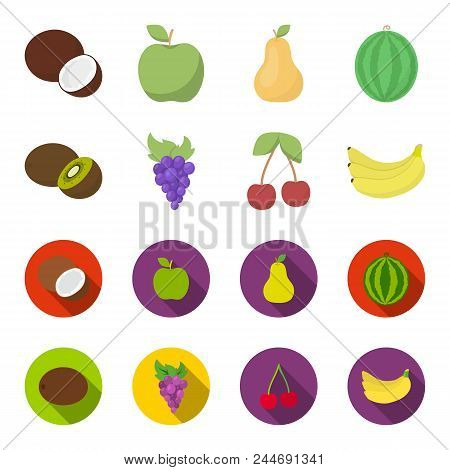 Kiwi, Grapes, Cherry, Banana.fruits Set Collection Icons In Cartoon, Flat Style Vector Symbol Stock