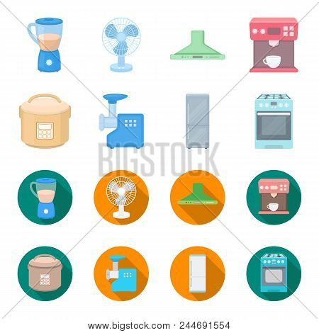 Multivarka, Refrigerator, Meat Grinder, Gas Stove.household Set Collection Icons In Cartoon, Flat St