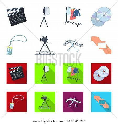 Badge, Operator Gesture And Other Accessories For The Movie. Making Movie Set Collection Icons In Ca