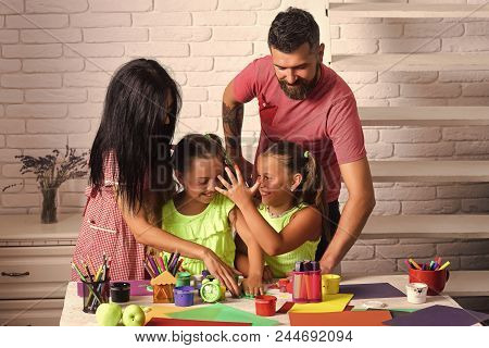 Family Values. Happy Childhood And Parenting. Finger Painting And Arts. Imagination, Creativity Conc