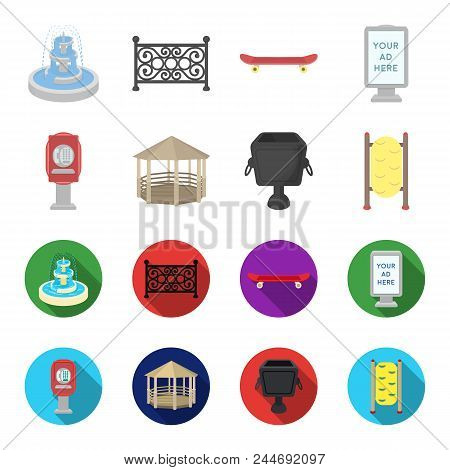 Telephone Automatic, Gazebo, Garbage Can, Wall For Children. Park Set Collection Icons In Cartoon, F